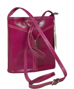 Růžová malá kožená kabelka Lea Rosa