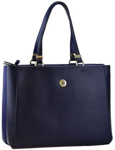Tommy Hilfiger Dámská kabelka Th Smooth Tommy Med Satchel Blue Depth Mix