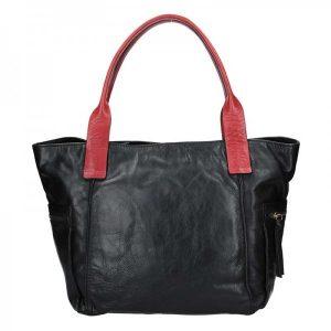 Dámská kožený kabelka Lagen Lorna – černo-červená
