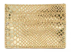 Pieces Dámská peněženka PCNAINA LEATHER SNAKE CARDHOLDER Gold Colour snake