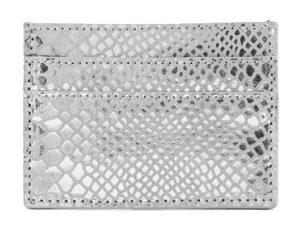 Pieces Dámská peněženka PCNAINA LEATHER SNAKE CARDHOLDER Silver Colour snake