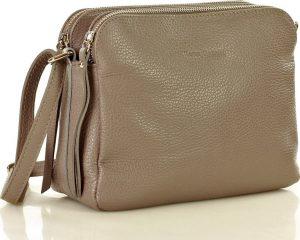 MARCO MAZZINI dvoukomorová kožená kabelka – šedá (l156k) Velikost: univerzální