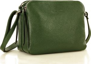 MARCO MAZZINI dvoukomorová kožená kabelka – zelená (l156l) Velikost: univerzální