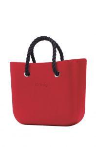 O bag kabelka MINI Ciliegia s černými krátkými provazy