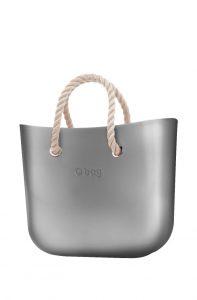 O bag kabelka MINI Silver s krátkymi provazy natural