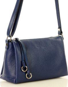 MAZZINI Klasická modrá kožená kabelka (l157f) Velikost: univerzální