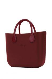 O bag kabelka MINI Bordeaux s bordovými krátkými koženkovými držadly