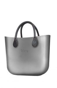 O bag kabelka MINI Silver s krátkými Grafitte držadly
