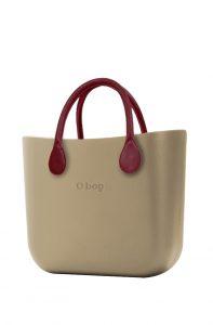 O bag kabelka MINI Sabbia s bordovými krátkými koženkovými držadly