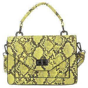 Módní žlutá kufříková kabelka s hadím vzorem