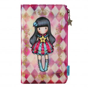 Santoro růžová velká peněženka Gorjuss Circus Moon Buttons