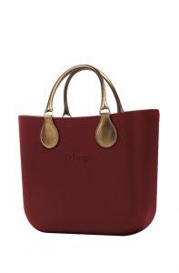 O bag kabelka MINI Bordeaux s krátkými koženkovými držadly Bronzo