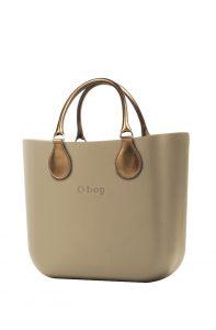 O bag kabelka MINI Sabbia s krátkými koženkovými držadly Bronzo