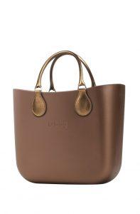 O bag kabelka MINI Bronzo s krátkými koženkovými držadly Bronzo