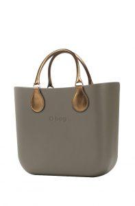 O bag kabelka MINI Rock s krátkými koženkovými držadly Bronzo