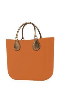 O bag kabelka MINI Mattone s krátkými koženkovými držadly Bronzo