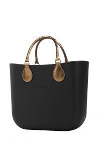 O bag kabelka MINI Nero s krátkými koženkovými držadly Bronzo