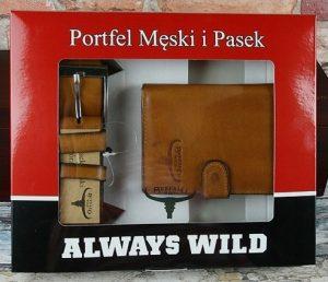 BUFFALO WILD Dárková kožená sada peněženka + pásek (PSB-D1072-01-GG) Velikost: univerzální