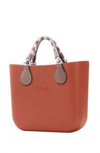 O bag kabelka MINI Terracotta s krátkými lanovými držadly Tortora