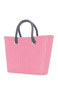 O bag Urban kabelka MINI Pink s šedými krátkými provazy