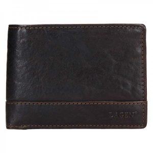 Pánská kožená peněženka Lagen Tex – tmavě hnědá