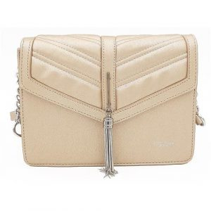 Zlatá kabelka listonoška se stříbrným přívěškem
