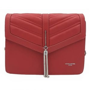 Červená kabelka listonoška se stříbrným přívěškem