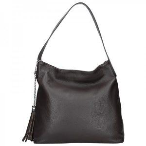 Dámská kožená kabelka Vera Pelle Linda – tmavě hnědá
