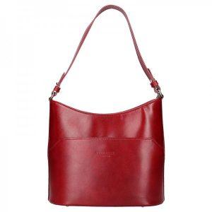 Dámská kožená kabelka Vera Pelle Jenny – tmavě červená