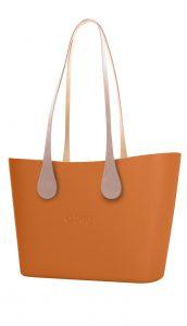 O bag kabelka Urban Mattone s dlouhými koženkovými držadly Extra Slim Ecru