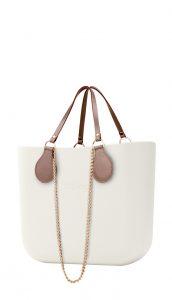 O bag kabelka Ivory s řetízkovými držadly a pudrovou koženkou