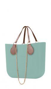 O bag kabelka MINI Turchese s řetízkovými držadly a pudrovou koženkou