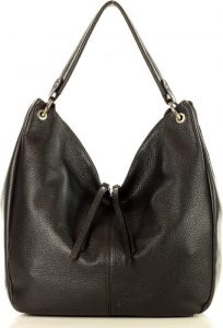 Černá shopper kabelka se zipy MARCO MAZZINI (s230a) Velikost: univerzální