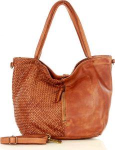 MARCO MAZZINI kožená taška se zipem na přední straně – camel (v45a) Velikost: univerzální