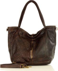 MARCO MAZZINI kožená taška se zipem na přední straně – hnědá (v45b) Velikost: univerzální