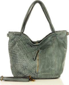 MARCO MAZZINI kožená taška se zipem na přední straně – šedá (v45c) Velikost: univerzální