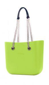 O bag kabelka MINI Green Apple/Mela s řetízkovým držadlem a modrou koženkou