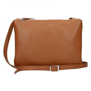 Trendy dámská kožená crossbody kabelka Facebag Beatrice – hnědá