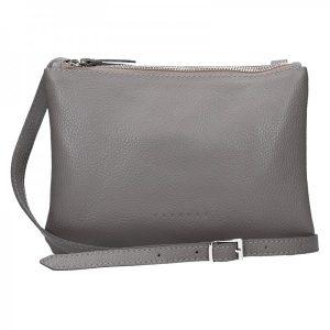 Trendy dámská kožená crossbody kabelka Facebag Beatrice – šedá