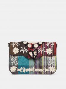 Modro-růžová kostkovaná kabelka s výšivkou Desigual Yesquere Amorgos