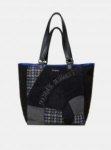 Černý vzorovaný shopper s detaily v semišové úpravě Desigual Liberté