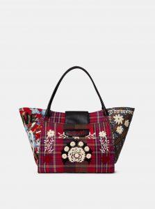 Modro-růžová kostkovaná kabelka s výšivkou Desigual Yesquere Zaria