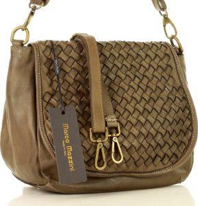 Khaki kožená kabelka MARCO MAZZINI (v6f) Velikost: univerzální