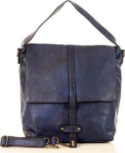 MARCO MAZZINI Modrá kožená kabelka (v26d) Velikost: univerzální