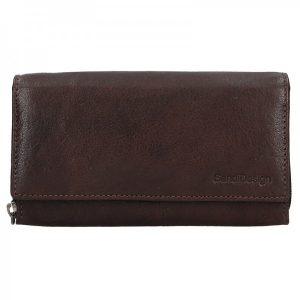 Dámská kožená peněženka SendiDesign Aneta – tmavě hnědá