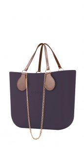 O bag kabelka Viola Scuro s řetízkovými držadly a pudrovou koženkou
