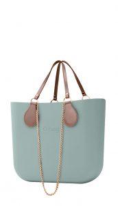 O bag kabelka Verde Antico s řetízkovými držadly a pudrovou koženkou