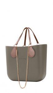 O bag kabelka MINI Rock s řetízkovými držadly a pudrovou koženkou