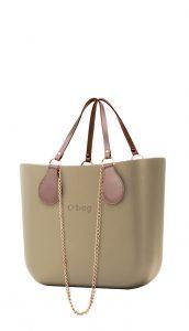 O bag kabelka MINI Sabbia s řetízkovými držadly a pudrovou koženkou