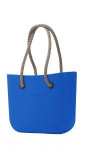 O bag kabelka Mini Imperial Blue s dlouhými provazy natural